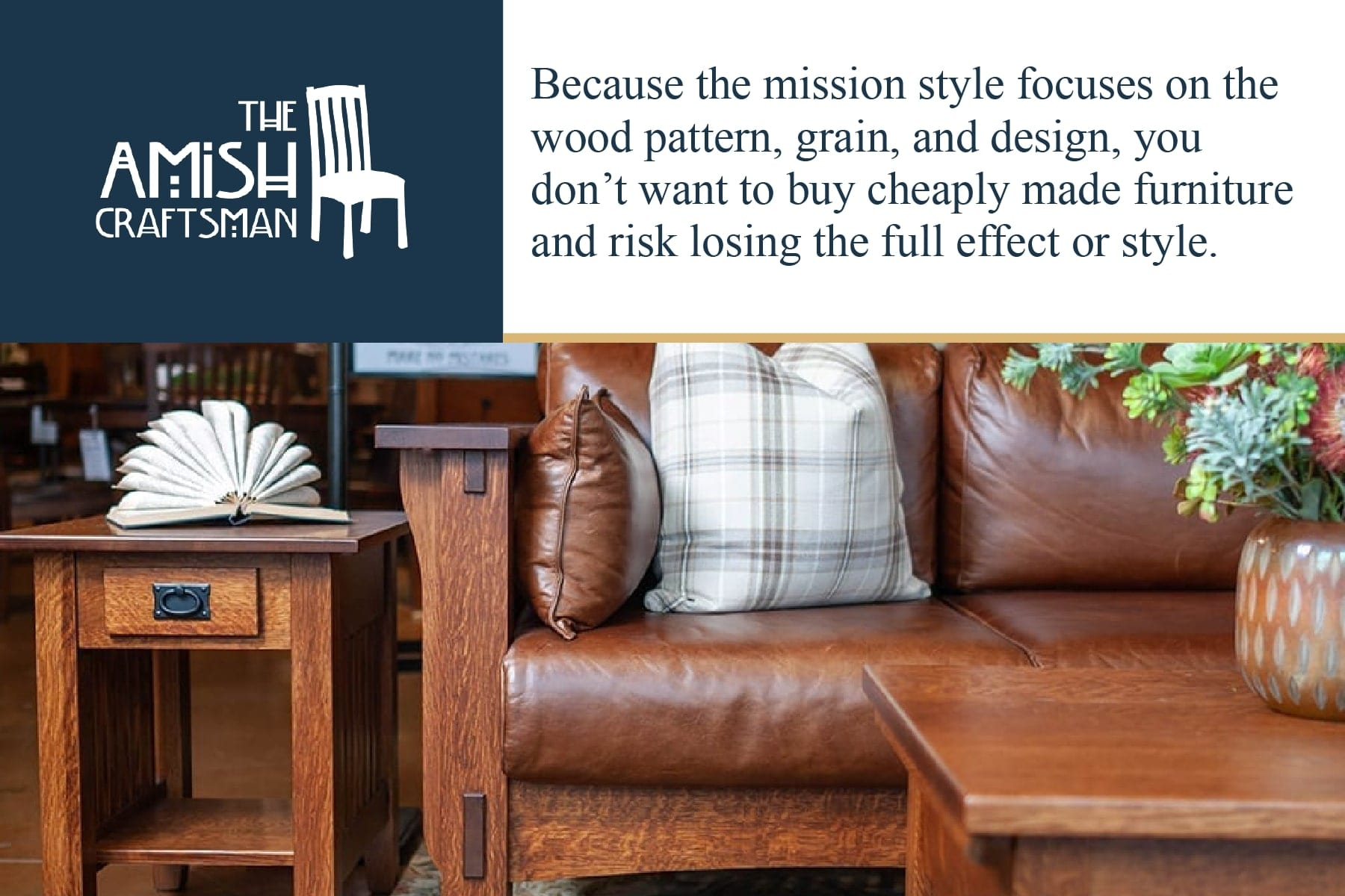 the mission style focuses on wood pattern, grain, and design