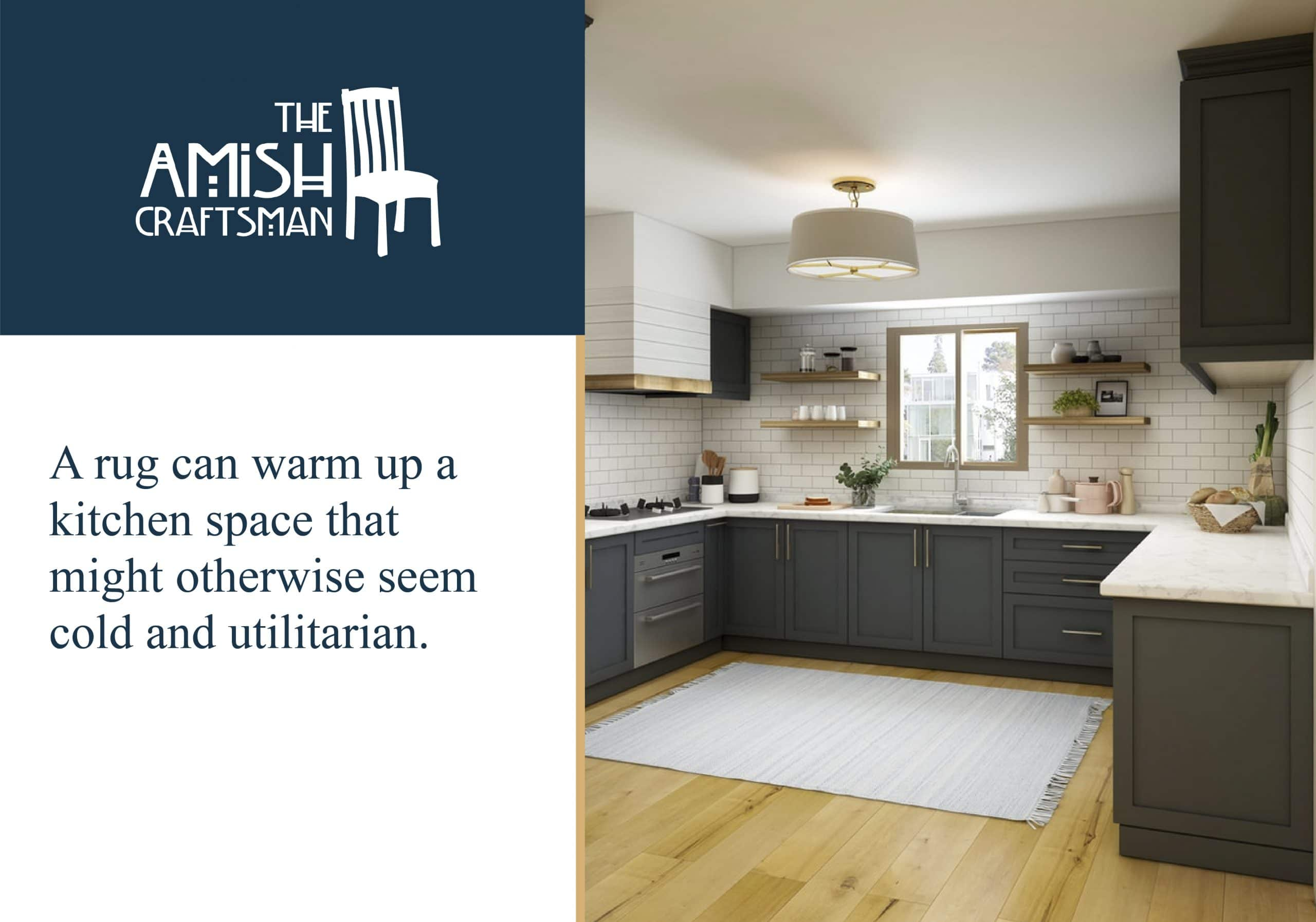 A rug in the kitchen helps make the space more cozy