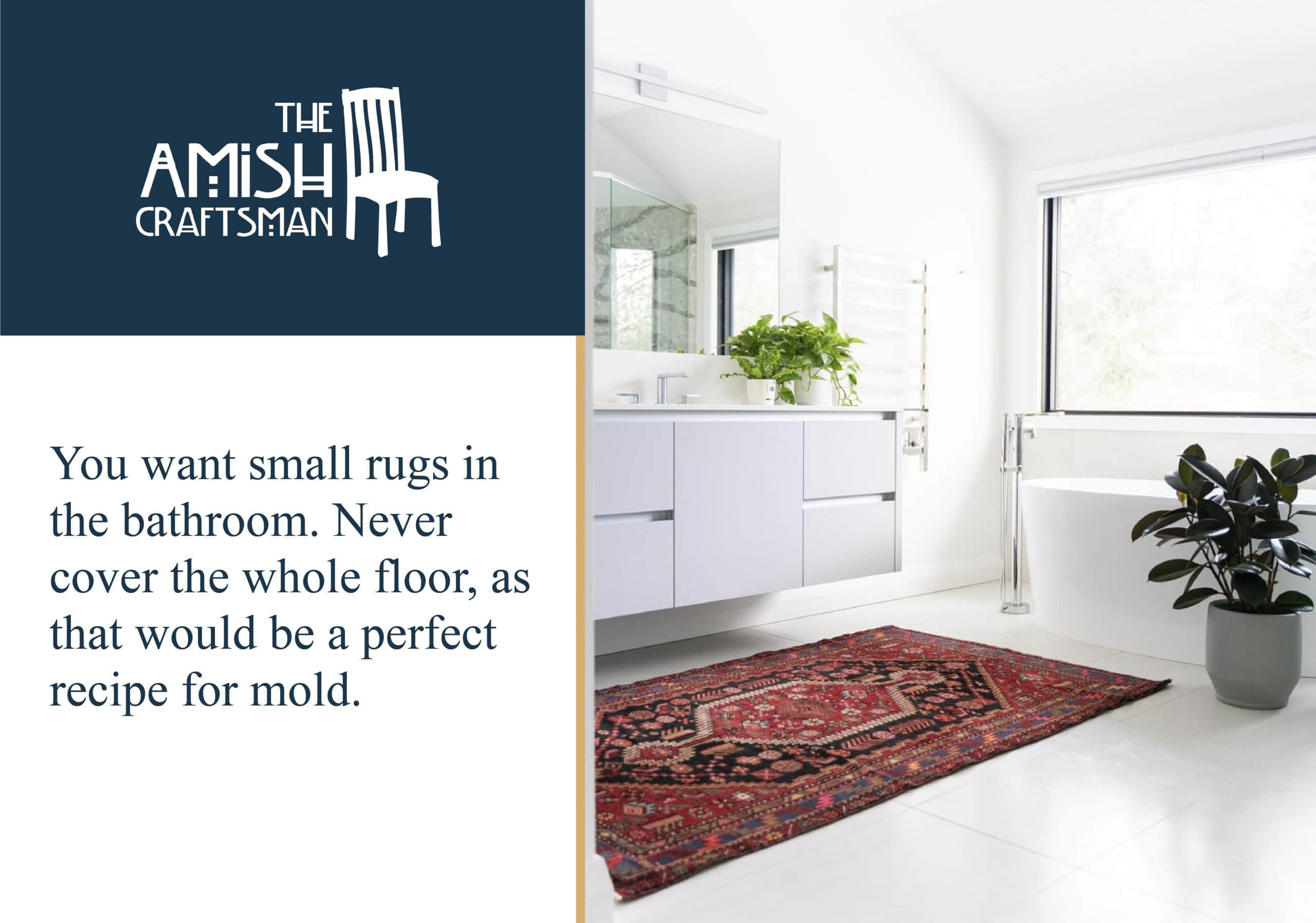 Small rugs work best in a bathroom