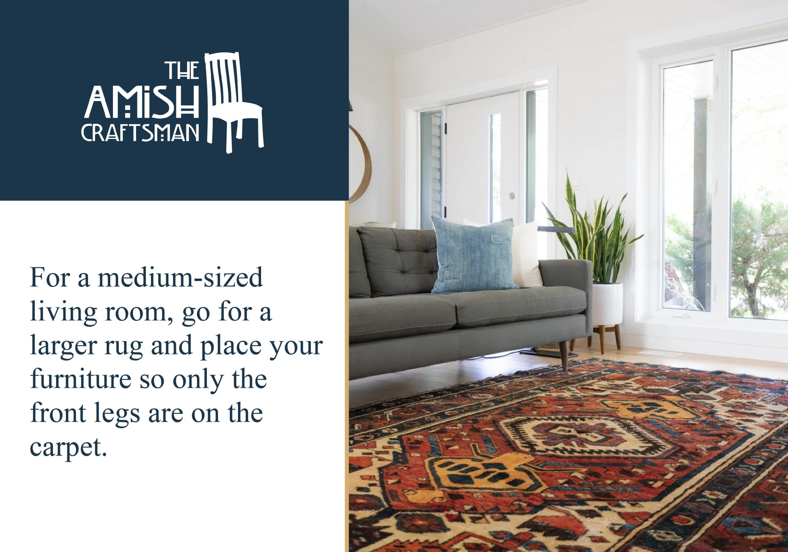 Use a large rug in a medium sized living room